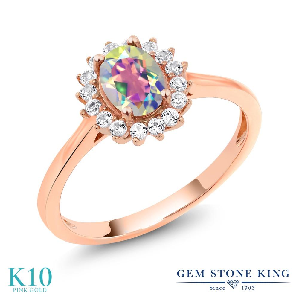 【10%OFF】 Gem Stone King 1.04カラット 天然石 ミスティックトパーズ (マーキュリーミスト) 合成ホワイトサファイア (ダイヤのような無色透明) 指輪 リング レディース 10金 ピンクゴールド K10 クラスター クリスマスプレゼント 女性 彼女 妻 誕生日