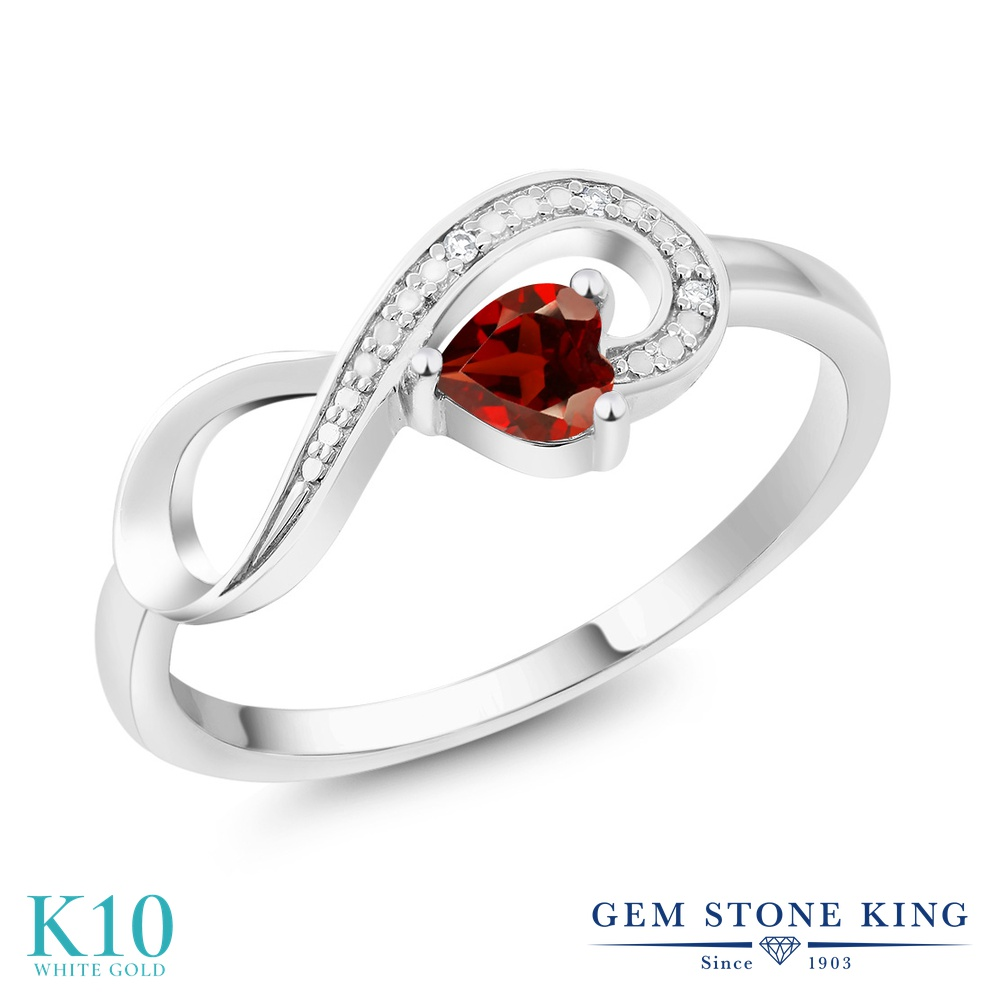 Gem Stone King 0.33カラット 天然 ガーネット 天然 ダイヤモンド 10金 ホワイトゴールド(K10) 指輪 リング レディース 小粒 インフィニティ シンプル エタニティ 天然石 1月 誕生石 金属アレルギー対応 誕生日プレゼント
