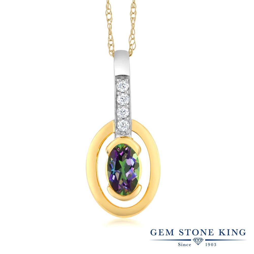 【クーポンで7%OFF】 Gem Stone King 0.26カラット 天然石 ミスティックトパーズ (グリーン) 天然 ダイヤモンド 10金 Two Toneゴールド(K10) ネックレス ペンダント レディース 小粒 プレゼント 女性 彼女 誕生日 クリスマス