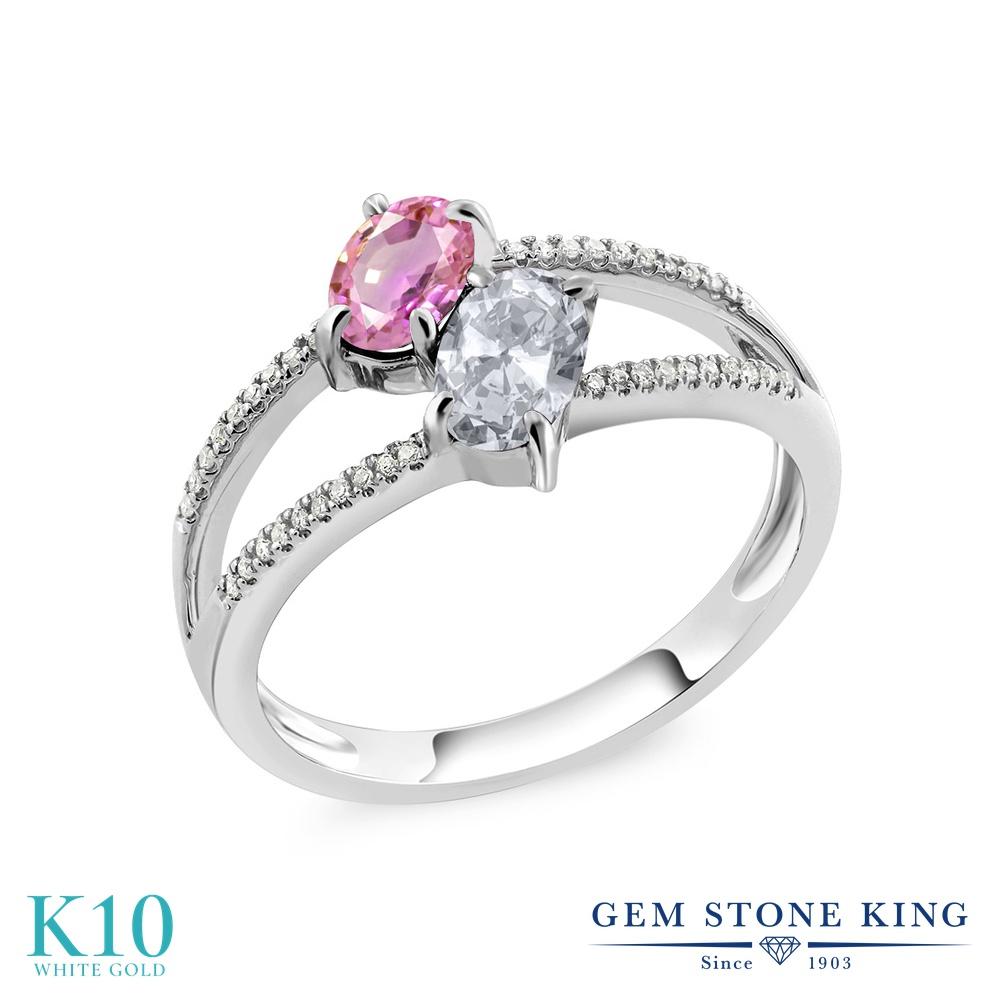 Gem Stone King 1.33カラット 天然サファイア(ピンク) 天然トパーズ(無色透明) 天然ダイヤモンド 10金 ホワイトゴールド(K10) 天然ダイヤモンド 指輪 リング