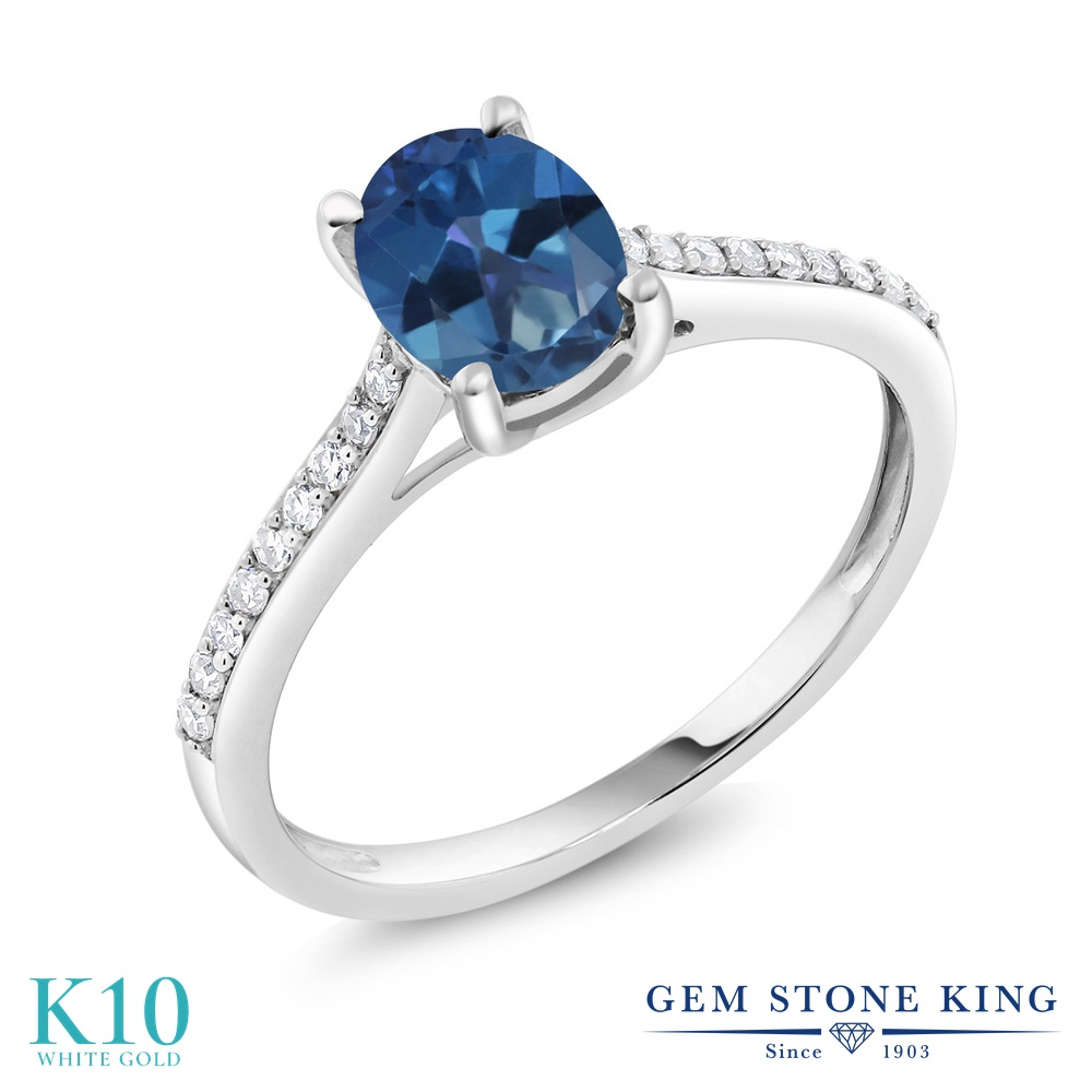 Gem Stone King 1.3カラット 天然 ミスティックトパーズ (サファイアブルー) 天然 ダイヤモンド 10金 ホワイトゴールド(K10) 指輪 リング レディース 大粒 マルチストーン 天然石 金属アレルギー対応 婚約指輪 エンゲージリング