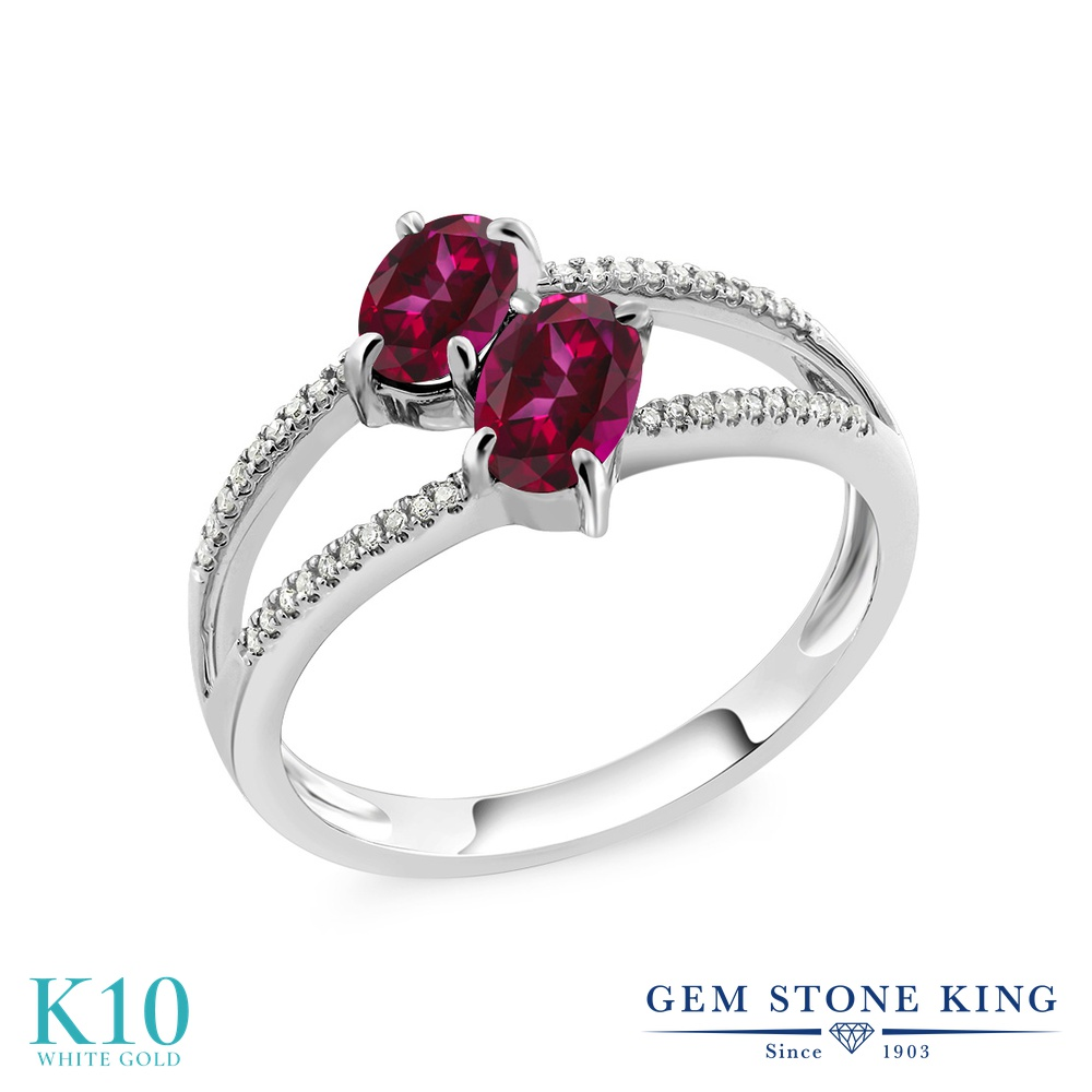 Gem Stone King 1.28カラット 天然石 レッドトパーズ (スワロフスキー 天然石シリーズ) 天然 ダイヤモンド 10金 ホワイトゴールド(K10) 指輪 リング レディース 小粒 ダブルストーン 天然石 金属アレルギー対応 誕生日プレゼント