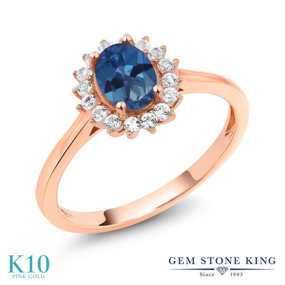 誕生日プレゼント レディース Stone 合成ホワイトサファイア リング 指輪 ミスティックトパーズ (サファイアブルー) ピンクゴールド(K10) 天然石 天然 金属アレルギー対応 10金 (ダイヤのような無色透明) クラスター 1.04カラット Gem King