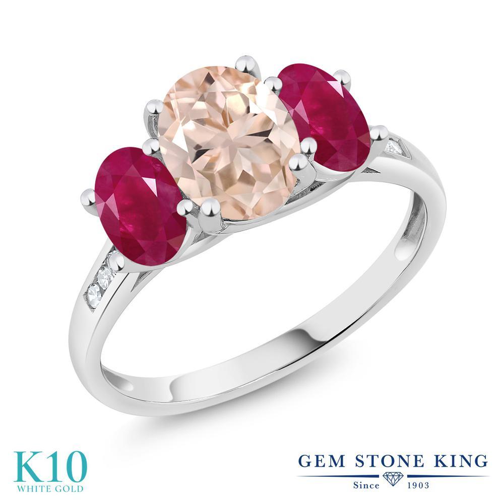 【クーポンで10%OFF】 Gem Stone King 2.2カラット 天然 モルガナイト (ピーチ) 天然 ルビー 天然 ダイヤモンド 10金 ホワイトゴールド(K10) 指輪 リング レディース 大粒 スリーストーン 天然石 3月 誕生石 金属アレルギー対応 誕生日プレゼント