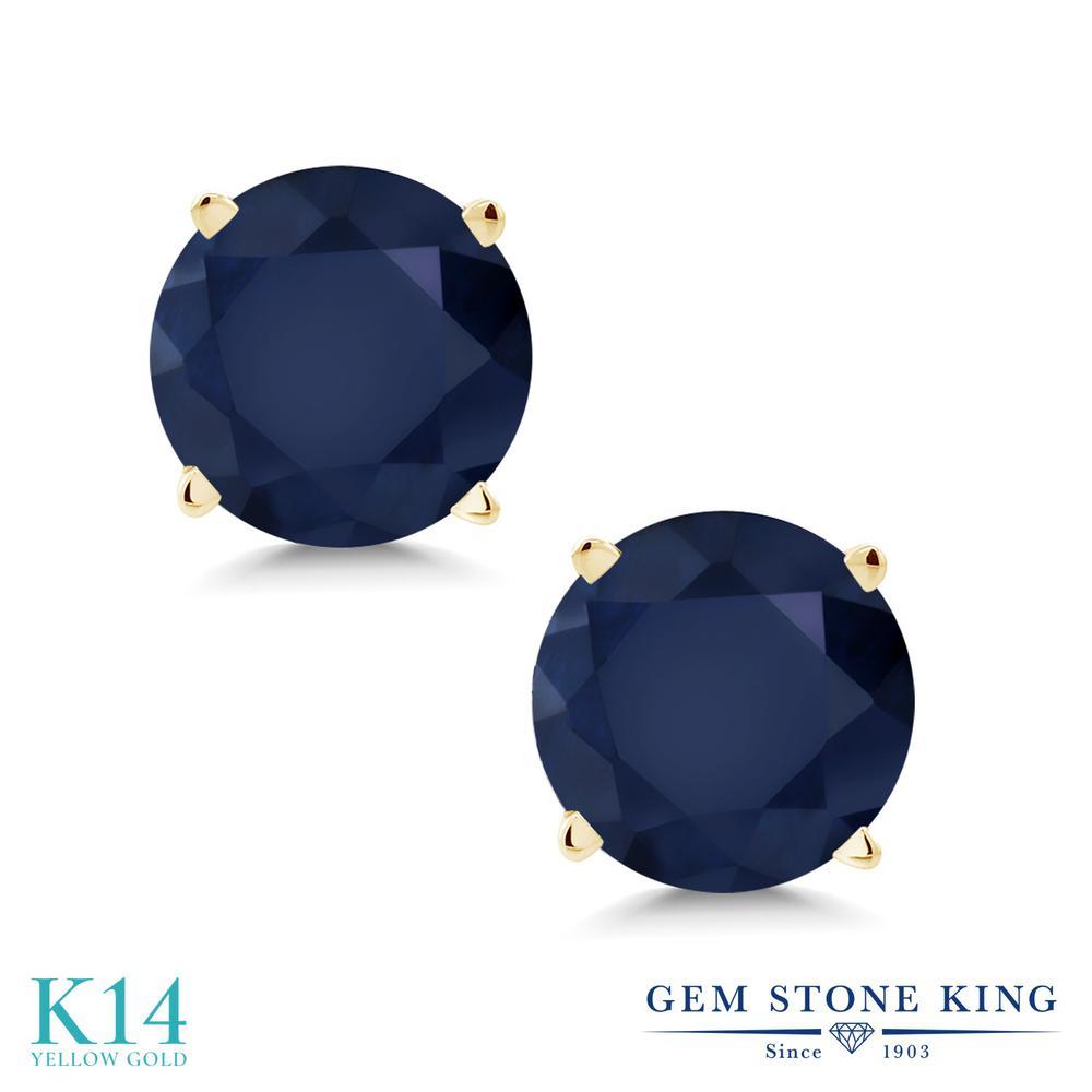 Gem Stone King 2カラット 天然 サファイア 14金 イエローゴールド(K14) ピアス レディース 大粒 シンプル スタッド 天然石 9月 誕生石 金属アレルギー対応 誕生日プレゼント
