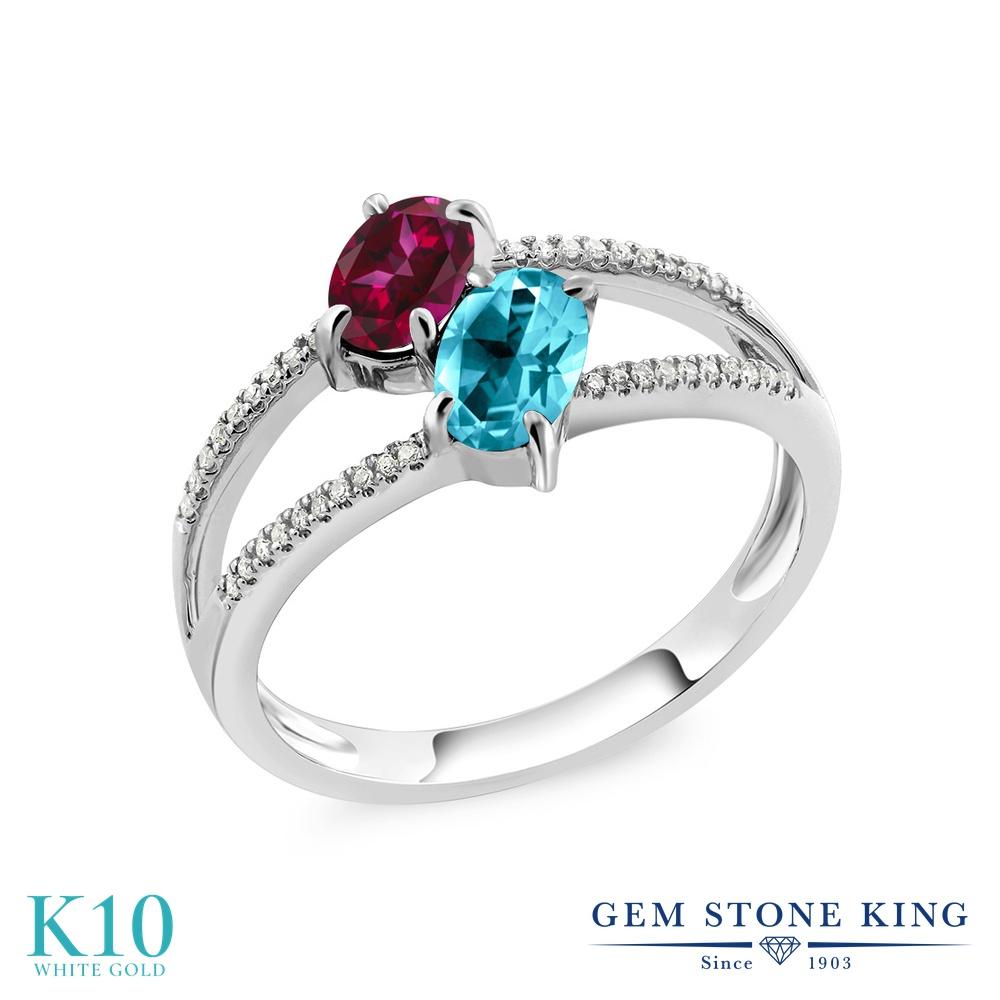 Gem Stone King 1.78カラット 天然石 レッドトパーズ (スワロフスキー 天然石シリーズ) 天然石 パライバトパーズ (スワロフスキー 天然石シリーズ) 天然 ダイヤモンド 10金 ホワイトゴールド(K10) 指輪 リング レディース 小粒 ダブルストーン 天然石 金属アレルギー対応