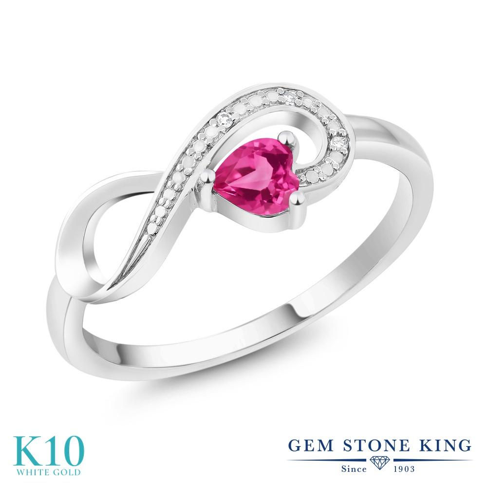 Gem Stone King 0.3カラット 天然 ミスティックトパーズ (ピンク) 天然 ダイヤモンド 10金 ホワイトゴールド(K10) 指輪 リング レディース 小粒 インフィニティ シンプル エタニティ 天然石 金属アレルギー対応 誕生日プレゼント