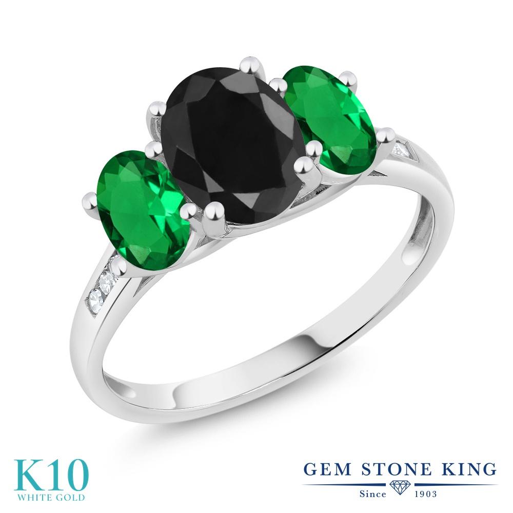 Gem Stone King 2.46カラット 天然 ブラックサファイア ナノエメラルド 天然 ダイヤモンド 10金 ホワイトゴールド(K10) 指輪 リング レディース 大粒 スリーストーン 天然石 9月 誕生石 金属アレルギー対応 誕生日プレゼント