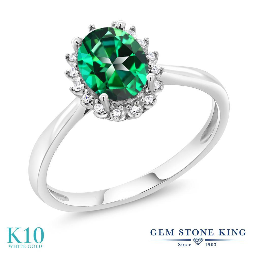 Gem Stone King 1.32カラット 天然石 トパーズ レインフォレスト (スワロフスキー 天然石シリーズ) 天然 ダイヤモンド 10金 ホワイトゴールド(K10) 指輪 リング レディース 大粒 ヘイロー 天然石 金属アレルギー対応 誕生日プレゼント