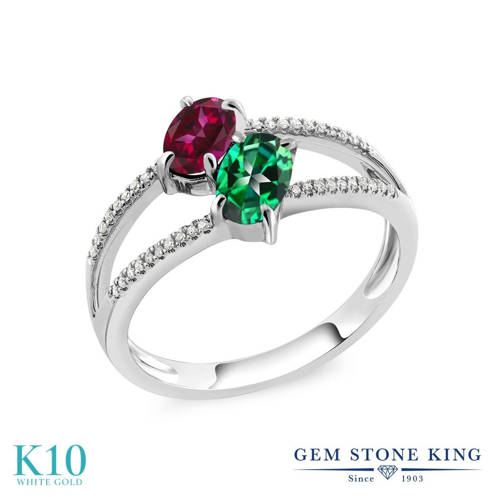 Gem Stone King 1.28カラット 天然石 レッドトパーズ (スワロフスキー 天然石シリーズ) 天然石 トパーズ レインフォレスト (スワロフスキー 天然石シリーズ) 天然 ダイヤモンド 10金 ホワイトゴールド(K10) 指輪 リング レディース 小粒 ダブルストーン 天然石