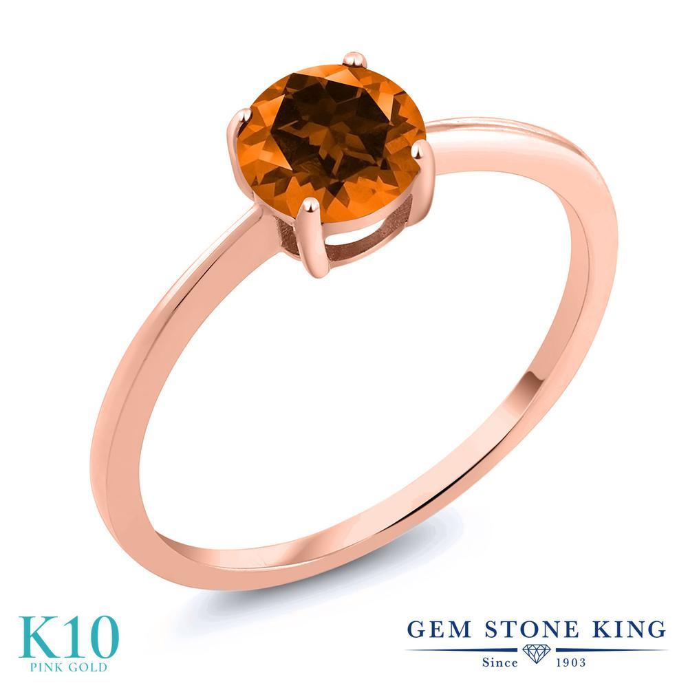 1カラット 天然石 トパーズ ポピー (スワロフスキー 天然石) 指輪 リング レディース 10金 ピンクゴールド K10 大粒 一粒 シンプル ソリティア プレゼント 女性 彼女 妻 誕生日