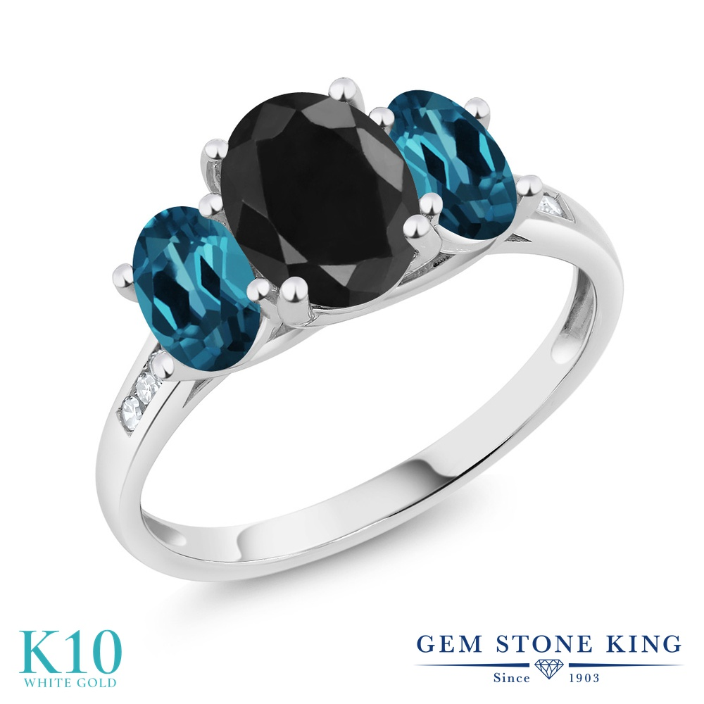 Gem Stone King 2.66カラット 天然 ブラックサファイア 天然 ロンドンブルートパーズ 天然 ダイヤモンド 10金 ホワイトゴールド(K10) 指輪 リング レディース 大粒 スリーストーン 天然石 9月 誕生石 金属アレルギー対応 誕生日プレゼント