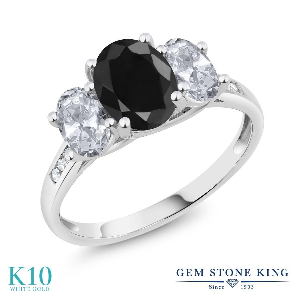 Gem Stone King 2.66カラット 天然 ブラックサファイア 天然 トパーズ (無色透明) 天然 ダイヤモンド 10金 ホワイトゴールド(K10) 指輪 リング レディース 大粒 スリーストーン 天然石 9月 誕生石 金属アレルギー対応 誕生日プレゼント