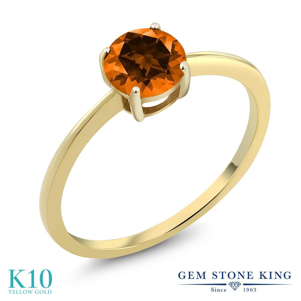 Gem Stone King 1カラット 天然石 トパーズ ポピー (スワロフスキー 天然石シリーズ) 10金 イエローゴールド(K10) 指輪 リング レディース 大粒 一粒 シンプル ソリティア 天然石 金属アレルギー対応 誕生日プレゼント