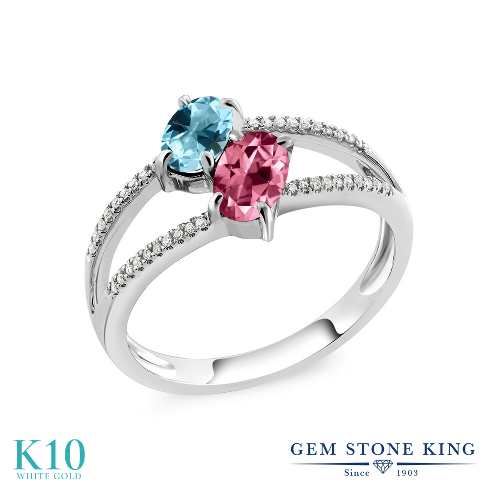Gem Stone King 1.28カラット 天然石 アイスブルートパーズ (スワロフスキー 天然石シリーズ) 天然石 ピンクトパーズ (スワロフスキー 天然石シリーズ) 天然 ダイヤモンド 10金 ホワイトゴールド(K10) 指輪 リング レディース 小粒 ダブルストーン 天然石 金属アレルギー対応