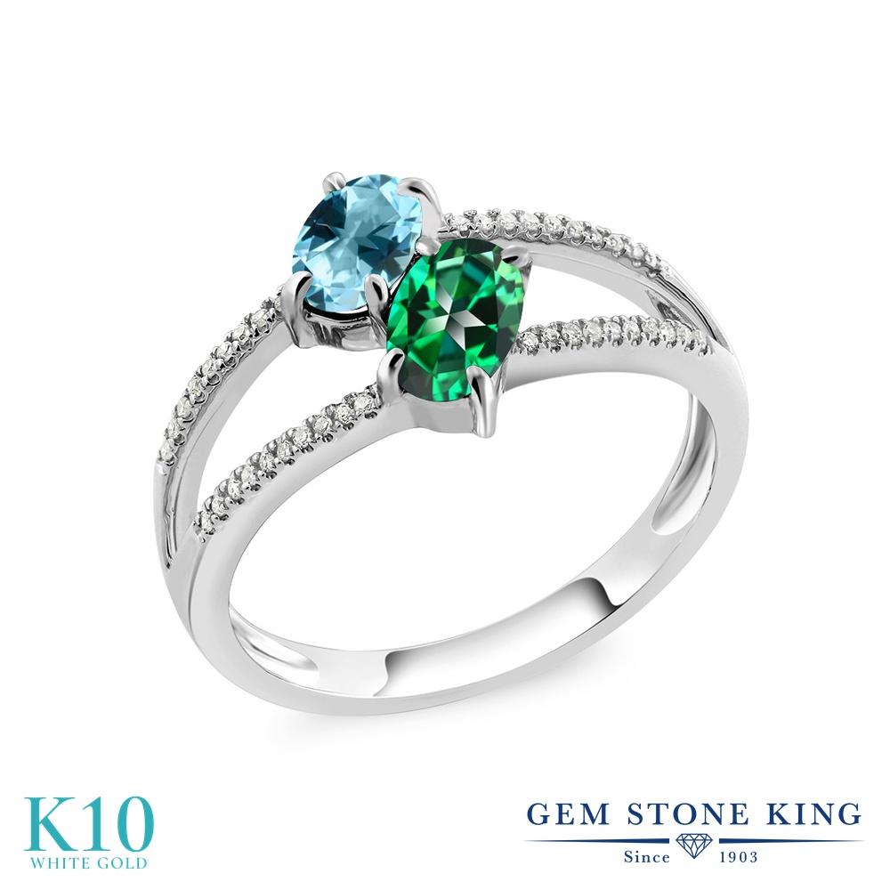 Gem Stone King 1.28カラット 天然石 アイスブルートパーズ (スワロフスキー 天然石シリーズ) 天然石 トパーズ レインフォレスト (スワロフスキー 天然石シリーズ) 天然 ダイヤモンド 10金 ホワイトゴールド(K10) 指輪 リング レディース 小粒 ダブルストーン 天然石