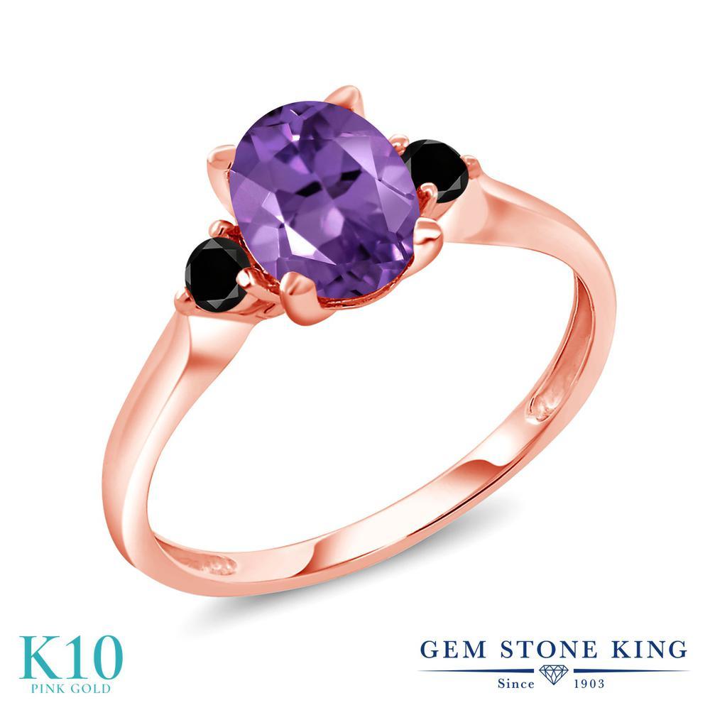 Gem Stone King 1.28カラット 天然 アメジスト 天然ブラックダイヤモンド 10金 ピンクゴールド(K10) 指輪 リング レディース 大粒 シンプル スリーストーン 天然石 2月 誕生石 金属アレルギー対応 誕生日プレゼント