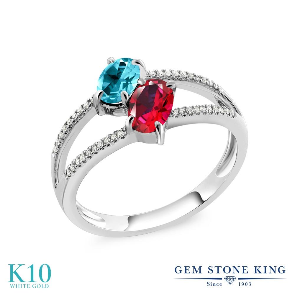 Gem Stone King 1.78カラット 天然石 パライバトパーズ (スワロフスキー 天然石シリーズ) 天然石 レッドトパーズ (スワロフスキー 天然石シリーズ) 天然 ダイヤモンド 10金 ホワイトゴールド(K10) 指輪 リング レディース 大粒 ダブルストーン 天然石 金属アレルギー対応