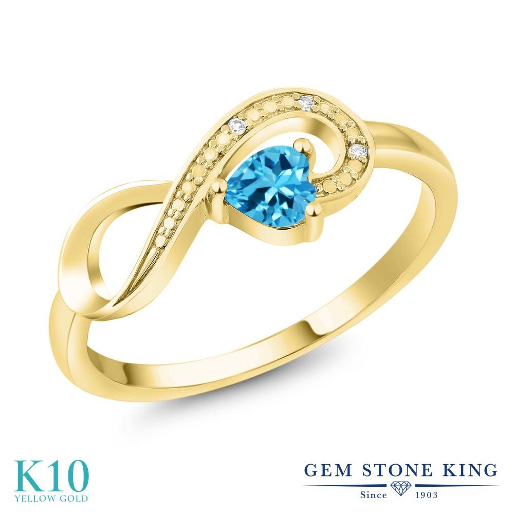 Gem Stone King 0.33カラット 天然 スイスブルートパーズ 天然 ダイヤモンド 10金 イエローゴールド(K10) 指輪 リング レディース 小粒 インフィニティ シンプル エタニティ 天然石 11月 誕生石 金属アレルギー対応 誕生日プレゼント