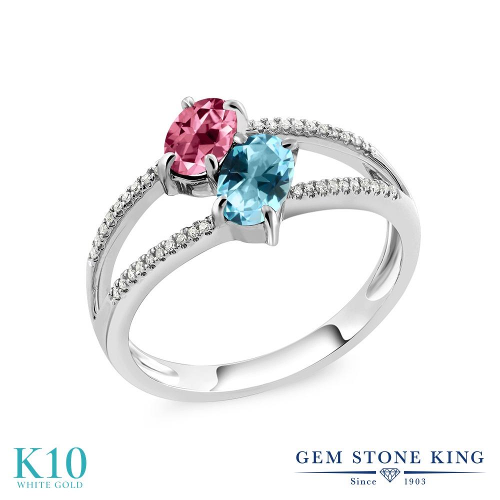 Gem Stone King 1.28カラット 天然石 ピンクトパーズ (スワロフスキー 天然石シリーズ) 天然石 アイスブルートパーズ (スワロフスキー 天然石シリーズ) 天然 ダイヤモンド 10金 ホワイトゴールド(K10) 指輪 リング レディース 小粒 ダブルストーン 天然石 金属アレルギー対応
