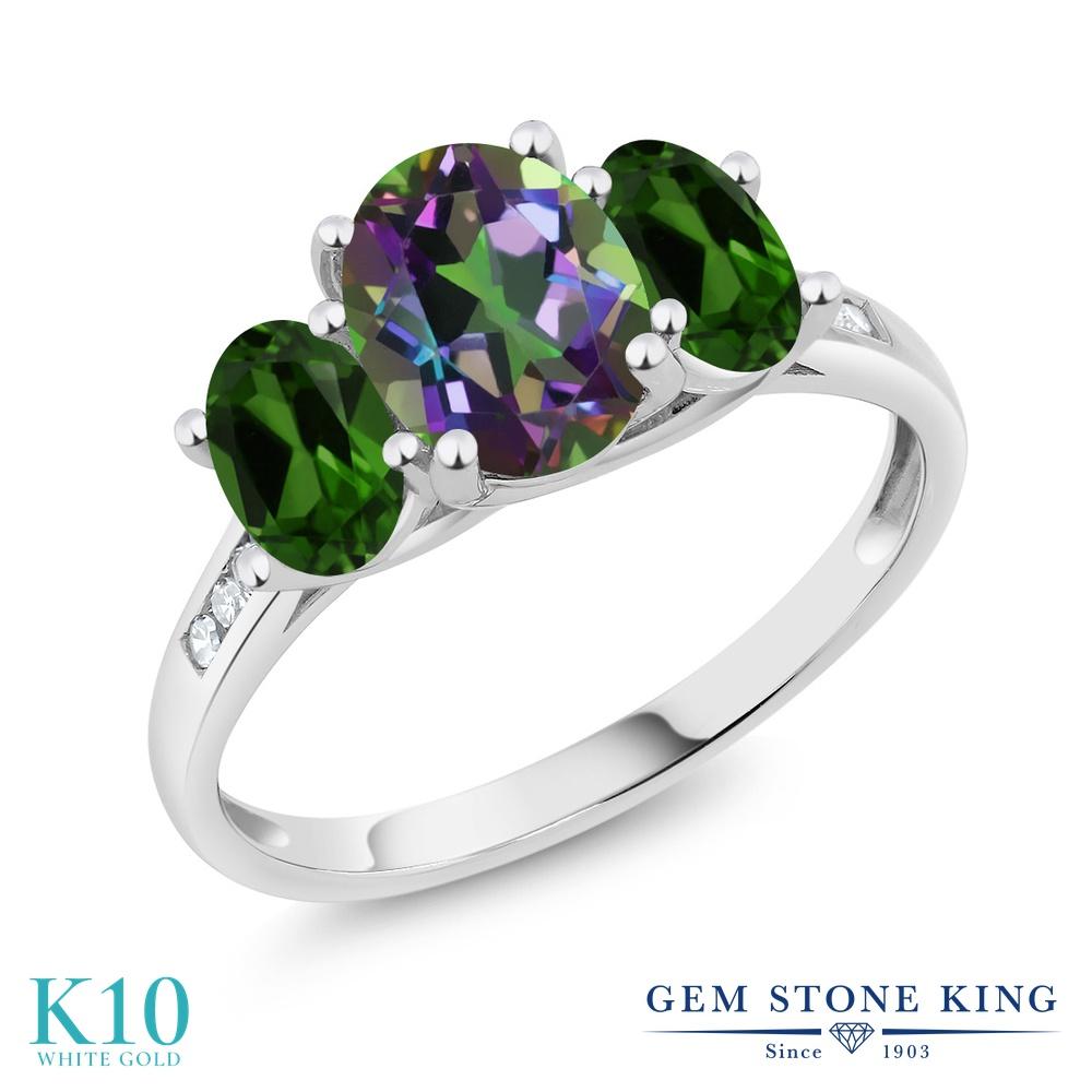 Gem Stone King 2.2カラット 天然石 ミスティックトパーズ (グリーン) 天然 クロムダイオプサイド 天然 ダイヤモンド 10金 ホワイトゴールド(K10) 指輪 リング レディース 大粒 スリーストーン 天然石 金属アレルギー対応 誕生日プレゼント