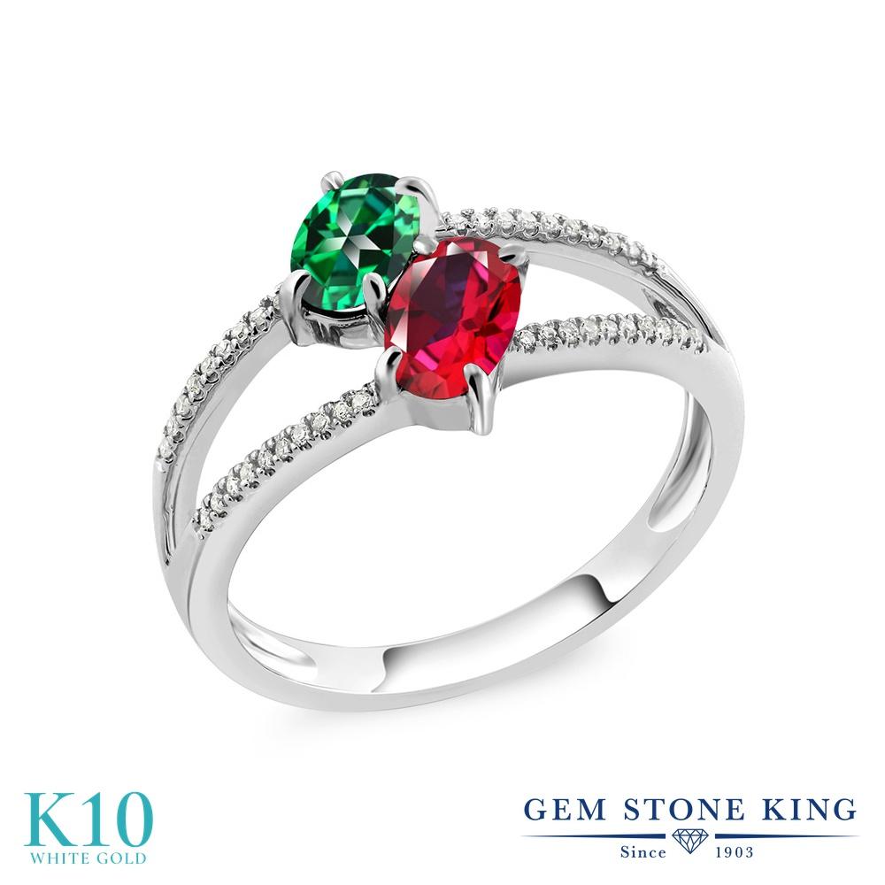 Gem Stone King 1.28カラット 天然石 トパーズ レインフォレスト (スワロフスキー 天然石シリーズ) 天然石 レッドトパーズ (スワロフスキー 天然石シリーズ) 天然 ダイヤモンド 10金 ホワイトゴールド(K10) 指輪 リング レディース 小粒 ダブルストーン 天然石