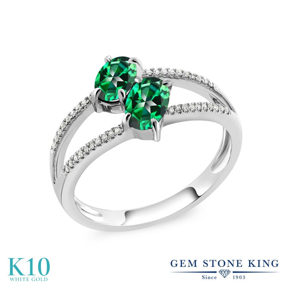 Gem Stone King 1.28カラット 天然石 トパーズ レインフォレスト (スワロフスキー 天然石シリーズ) 天然 ダイヤモンド 10金 ホワイトゴールド(K10) 指輪 リング レディース 小粒 ダブルストーン 天然石 金属アレルギー対応 誕生日プレゼント