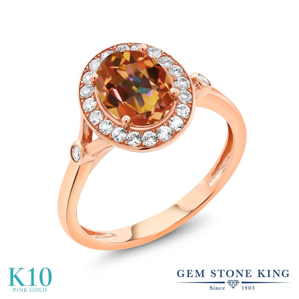 Gem Stone King 2.16カラット 天然石 エクスタシーミスティックトパーズ 合成ホワイトサファイア(ダイヤのような無色透明) 10金 ローズゴールド(K10) 指輪