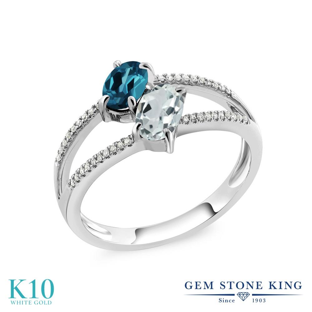 Gem Stone King 1.21カラット 天然 ロンドンブルートパーズ 天然 アクアマリン 天然 ダイヤモンド 10金 ホワイトゴールド(K10) 指輪 リング レディース 小粒 ダブルストーン 天然石 11月 誕生石 金属アレルギー対応 誕生日プレゼント