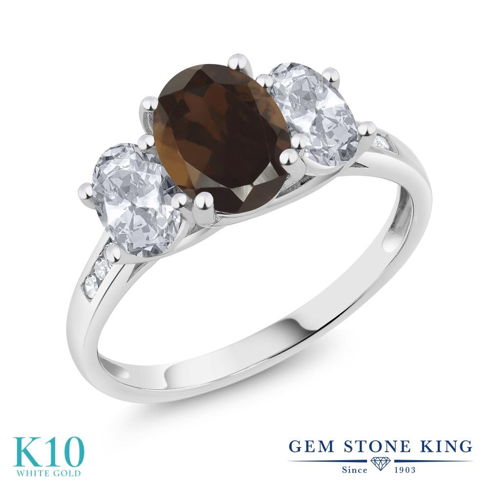 Gem Stone King 2.2カラット 天然 スモーキークォーツ (ブラウン) 天然 トパーズ (無色透明) 天然 ダイヤモンド 10金 ホワイトゴールド(K10) 指輪 リング レディース 大粒 スリーストーン 天然石 金属アレルギー対応 誕生日プレゼント