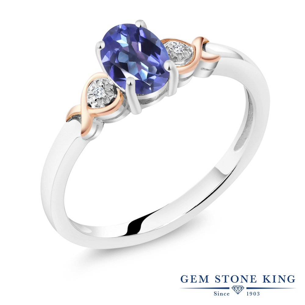 Gem Stone King 0.8カラット 天然 ミスティックトパーズ (タンザナイトブルー) ダイヤモンド &指輪 リング レディース 10金 ピンクゴールド K10 シルバー925 シンプル ソリティア 天然石 金属アレルギー対応