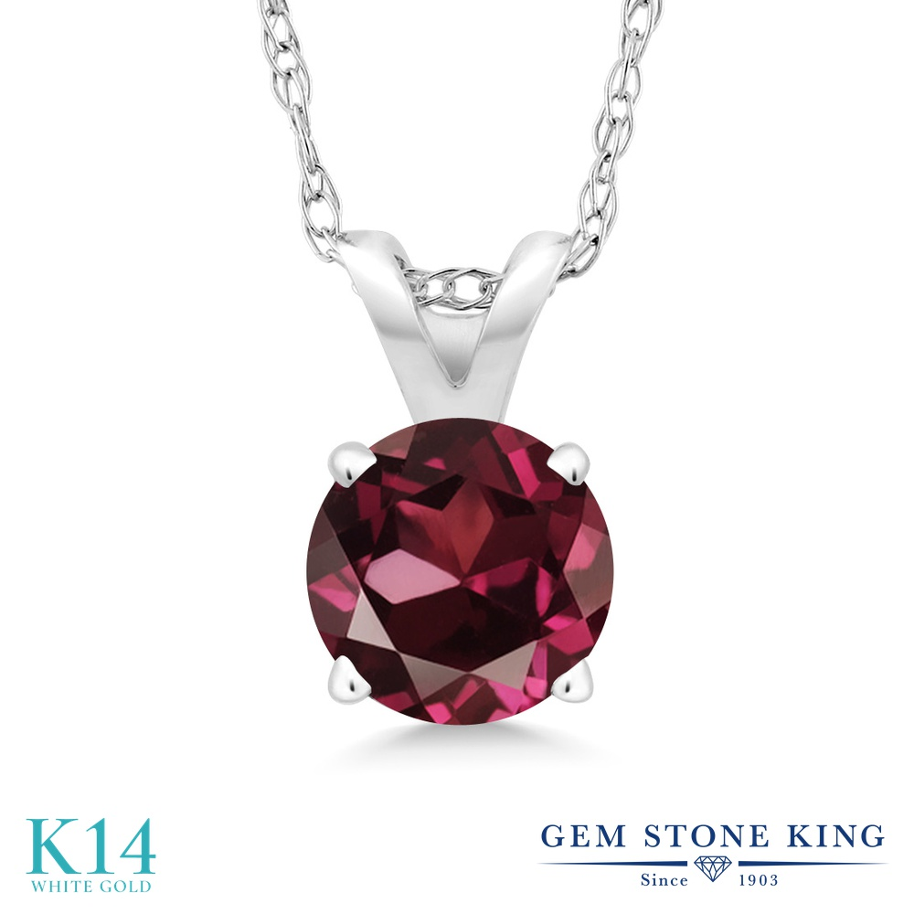 Gem Stone King 0.6カラット 天然 ロードライトガーネット 14金 ホワイトゴールド(K14) ネックレス ペンダント レディース 一粒 シンプル 天然石 金属アレルギー対応 誕生日プレゼント