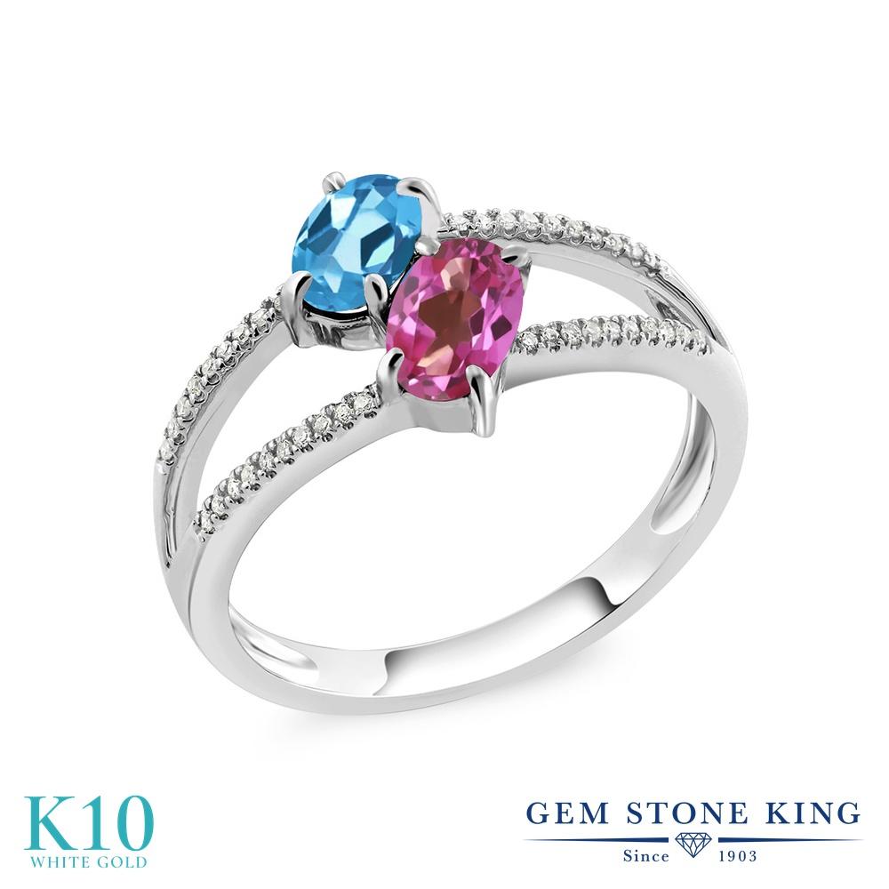 Gem Stone King 1.28カラット 天然 スイスブルートパーズ 天然 ミスティックトパーズ (ピンク) 天然 ダイヤモンド 10金 ホワイトゴールド(K10) 指輪 リング レディース 小粒 ダブルストーン 天然石 11月 誕生石 金属アレルギー対応 誕生日プレゼント