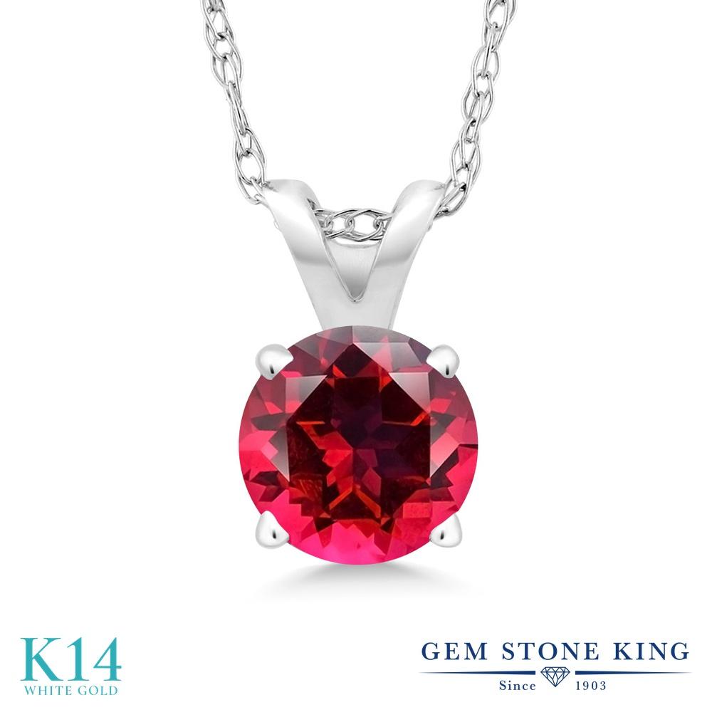 Gem Stone King 0.65カラット 天然石 レッドトパーズ (スワロフスキー 天然石シリーズ) 14金 ホワイトゴールド(K14) ネックレス ペンダント レディース 一粒 シンプル 天然石 金属アレルギー対応 誕生日プレゼント