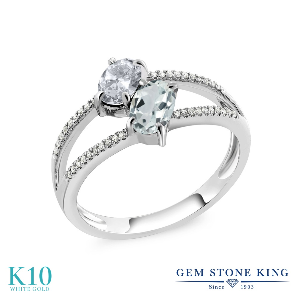 Gem Stone King 1.21カラット 天然 トパーズ (無色透明) 天然 アクアマリン 天然 ダイヤモンド 10金 ホワイトゴールド(K10) 指輪 リング レディース 小粒 ダブルストーン 天然石 11月 誕生石 金属アレルギー対応 誕生日プレゼント