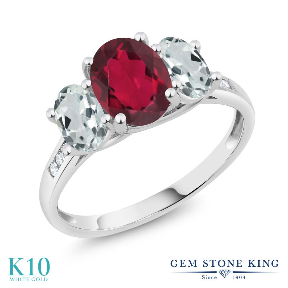 Gem Stone King 2.16カラット 天然 ミスティックトパーズ (ルビーレッド) 天然 アクアマリン 天然 ダイヤモンド 10金 ホワイトゴールド(K10) 指輪 リング レディース 大粒 スリーストーン 天然石 金属アレルギー対応 誕生日プレゼント