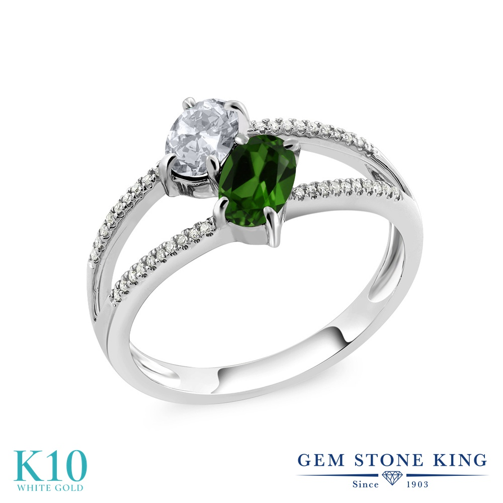 Gem Stone King 1.23カラット 天然 トパーズ (無色透明) 天然 クロムダイオプサイド 天然 ダイヤモンド 10金 ホワイトゴールド(K10) 指輪 リング レディース 小粒 ダブルストーン 天然石 11月 誕生石 金属アレルギー対応 誕生日プレゼント