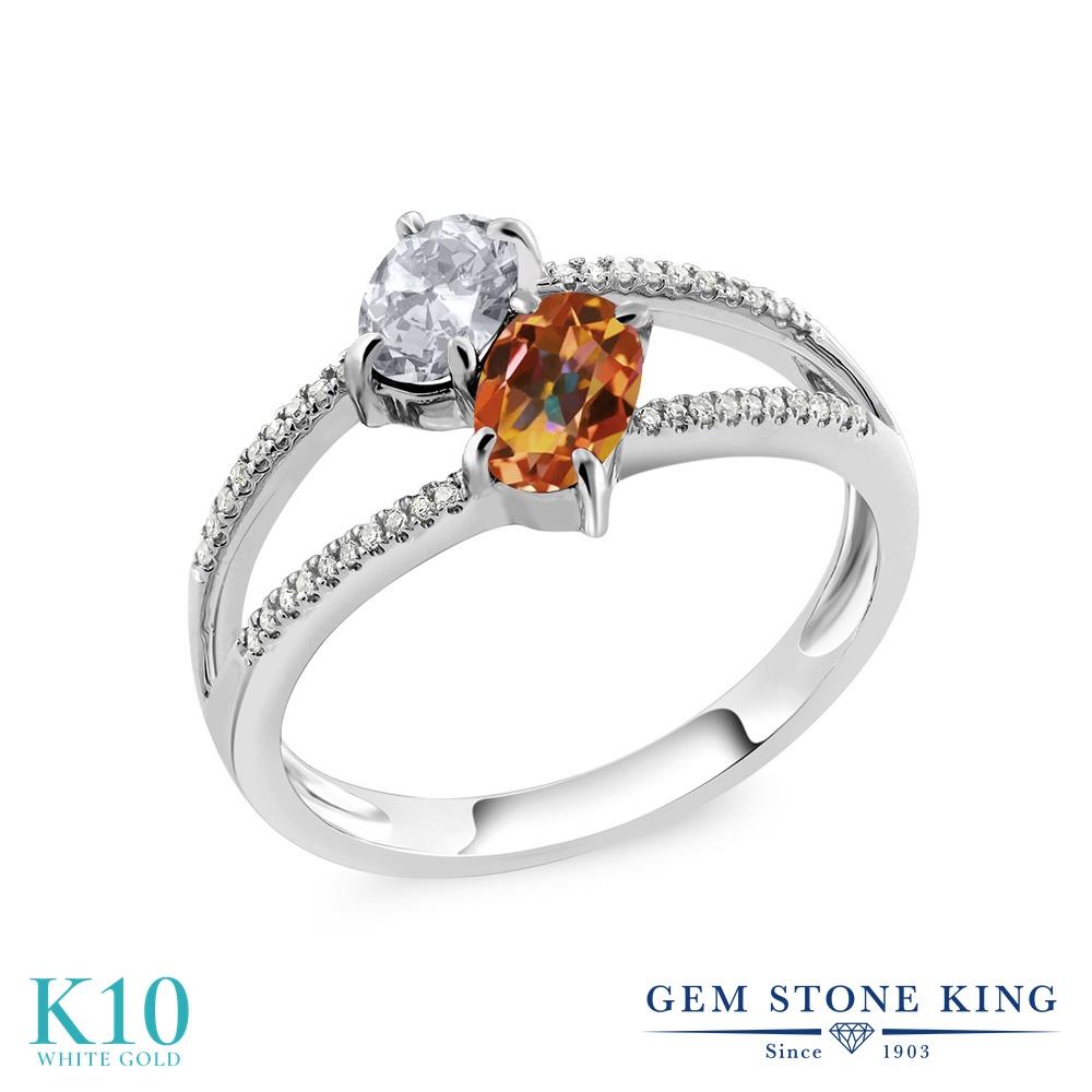 Gem Stone King 1.28カラット 天然 トパーズ (無色透明) 天然石 エクスタシーミスティックトパーズ 天然 ダイヤモンド 10金 ホワイトゴールド(K10) 指輪 リング レディース 小粒 ダブルストーン 天然石 11月 誕生石 金属アレルギー対応 誕生日プレゼント