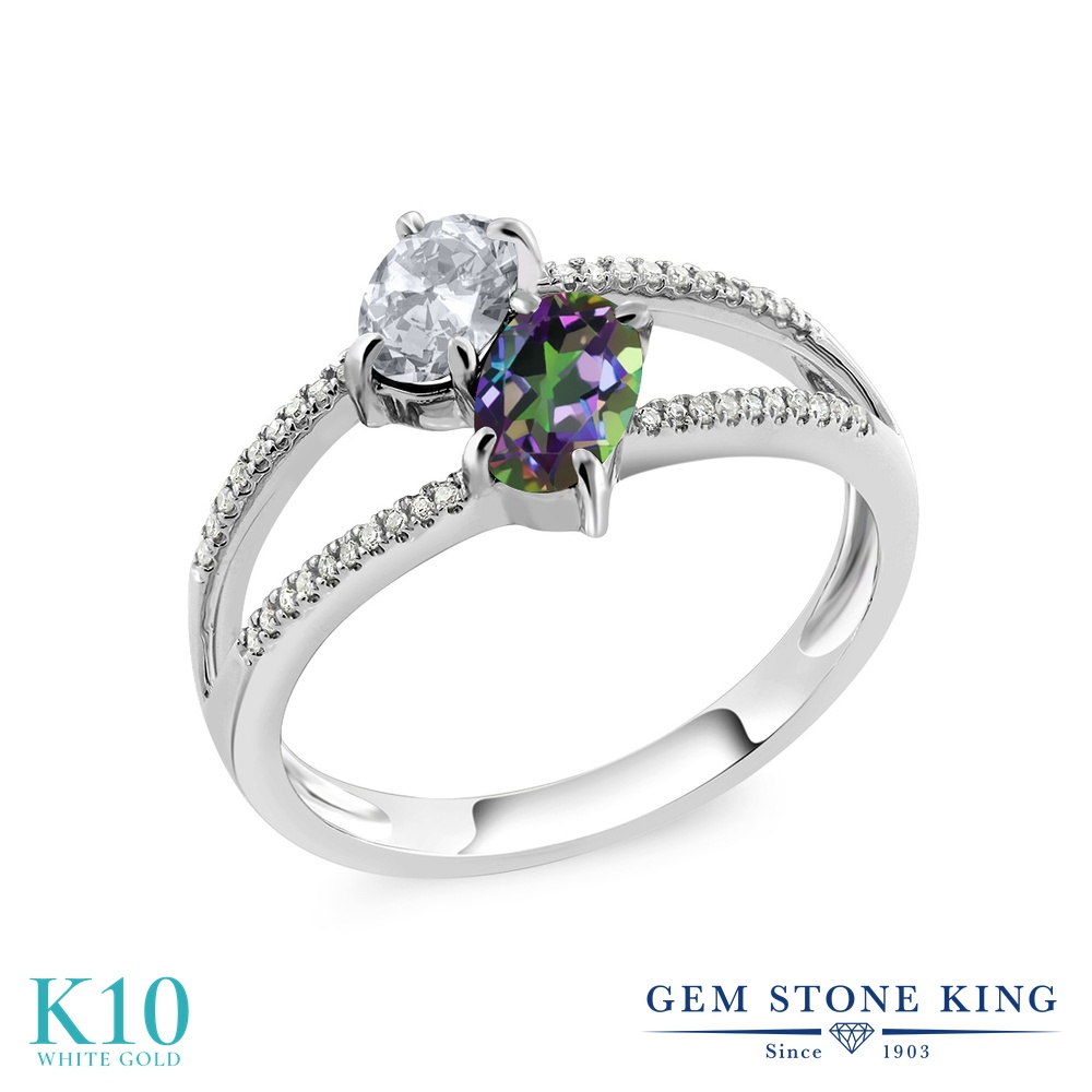 Gem Stone King 1.28カラット 天然 トパーズ (無色透明) 天然石 ミスティックトパーズ (グリーン) 天然 ダイヤモンド 10金 ホワイトゴールド(K10) 指輪 リング レディース 小粒 ダブルストーン 天然石 11月 誕生石 金属アレルギー対応 誕生日プレゼント