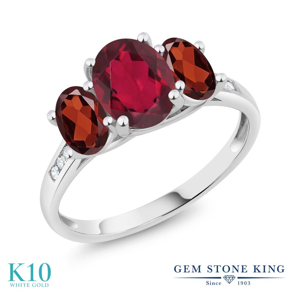Gem Stone King 2.3カラット 天然 ミスティックトパーズ (ルビーレッド) 天然 ガーネット 天然 ダイヤモンド 10金 ホワイトゴールド(K10) 指輪 リング レディース 大粒 スリーストーン 天然石 金属アレルギー対応 誕生日プレゼント