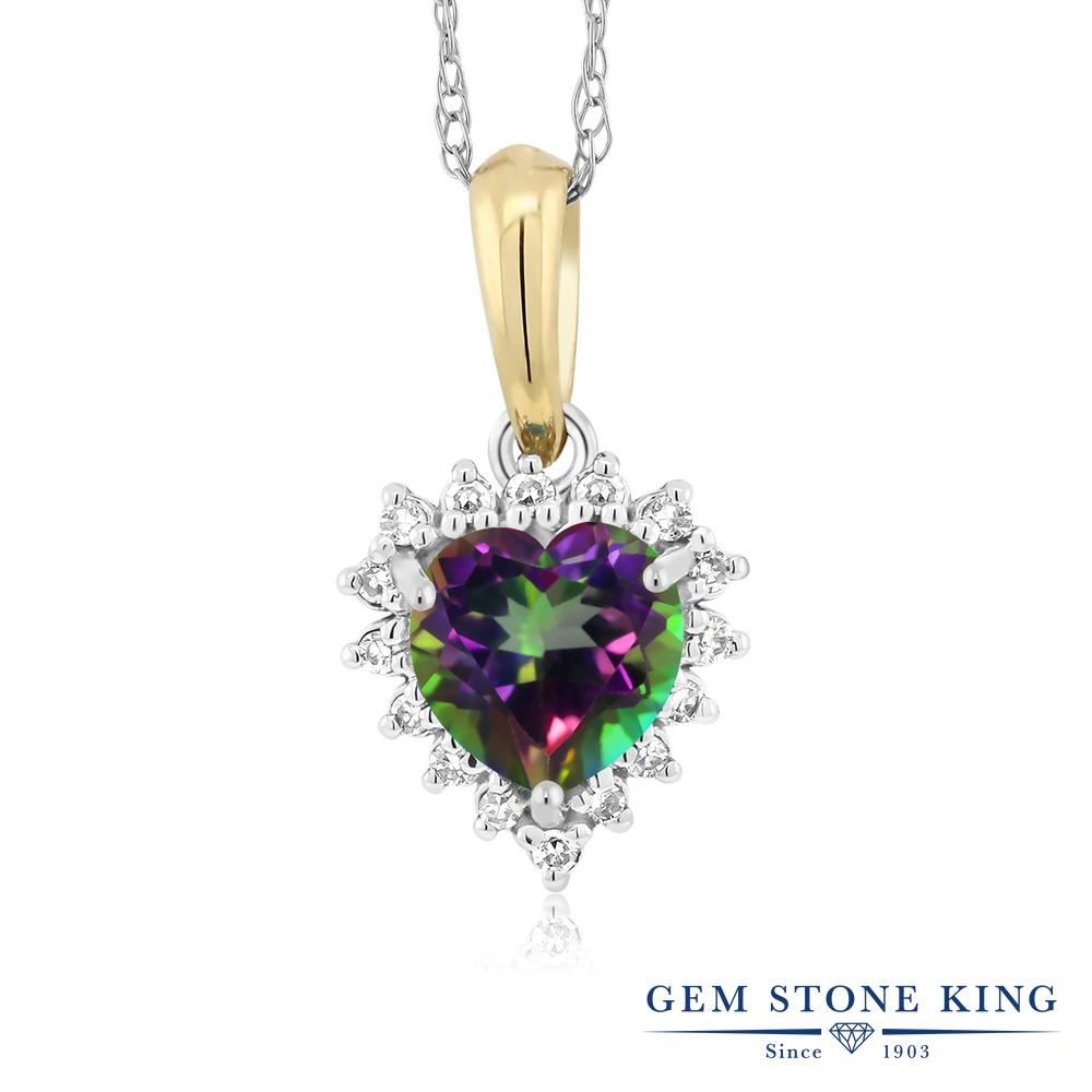 Gem Stone King 0.6カラット 天然石 ミスティックトパーズ (グリーン) 天然 ダイヤモンド 18金 Two Toneゴールド(K18) ネックレス ペンダント レディース 金属アレルギー対応 誕生日プレゼント