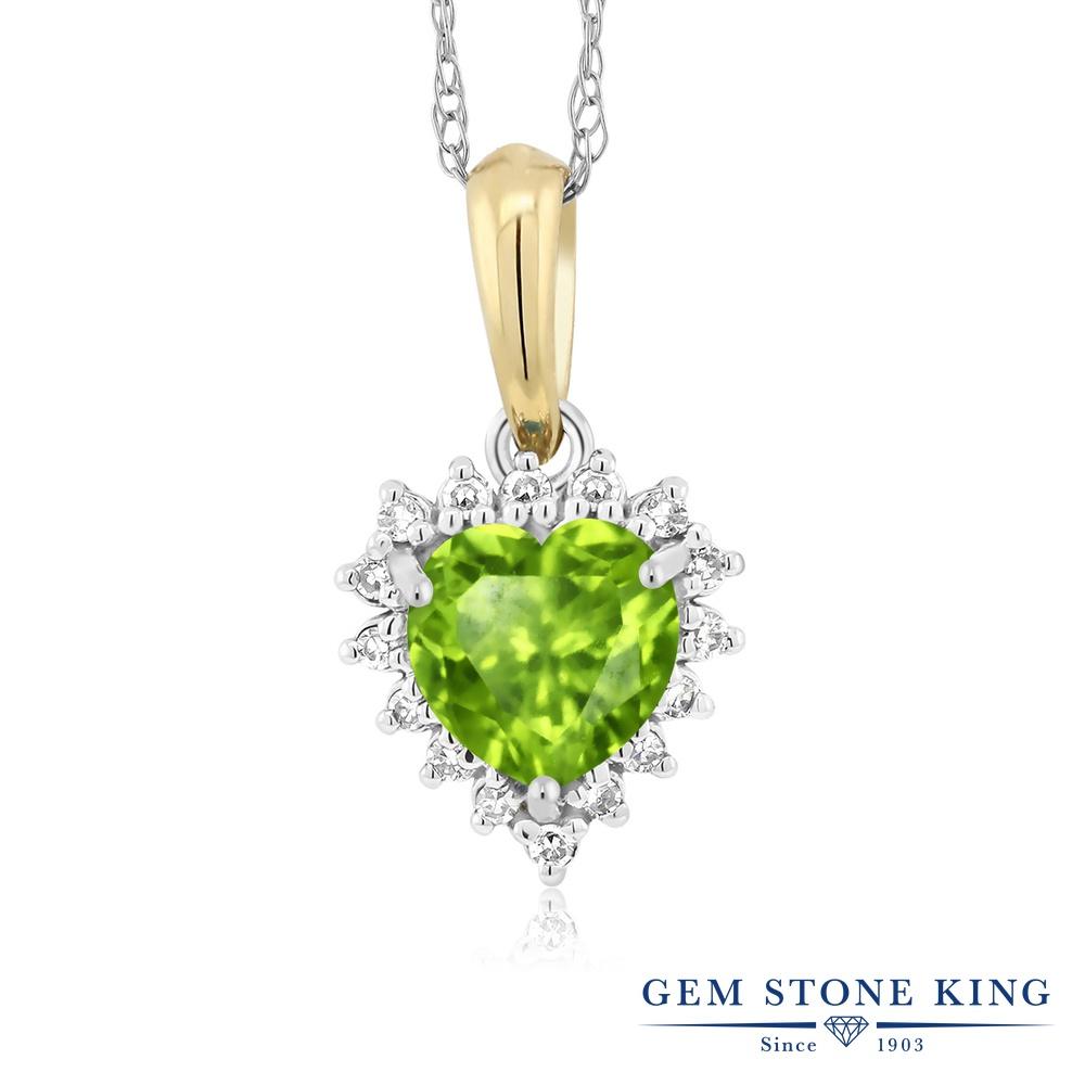Gem Stone King 0.5カラット 天然石 ペリドット 天然 ダイヤモンド 18金 Two Toneゴールド(K18) ネックレス ペンダント レディース 小粒 8月 誕生石 金属アレルギー対応 誕生日プレゼント