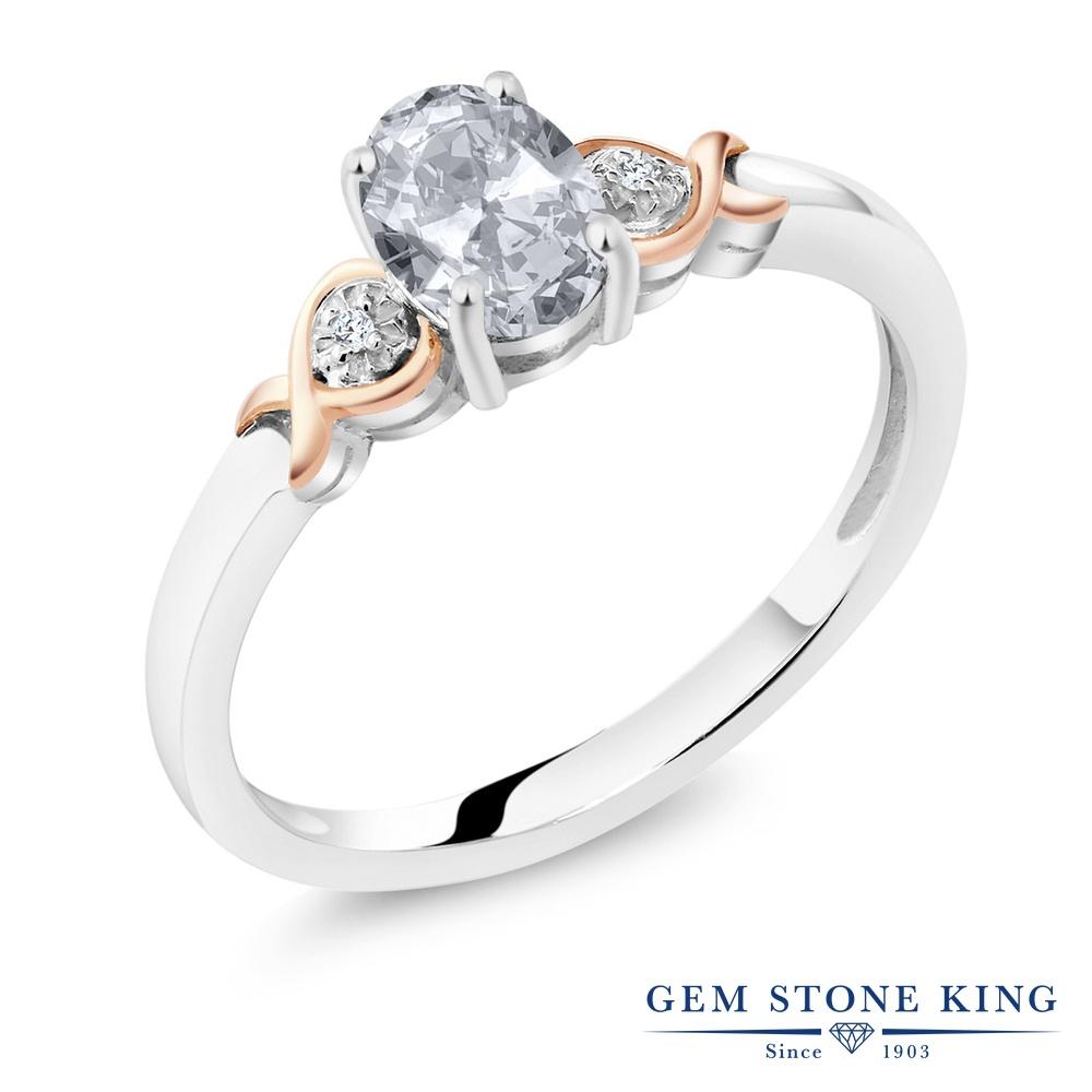 Gem Stone King 0.95カラット 天然 トパーズ ダイヤモンド &指輪 リング レディース 10金 ピンクゴールド K10 シルバー925 シンプル ソリティア 天然石 11月 誕生石 金属アレルギー対応