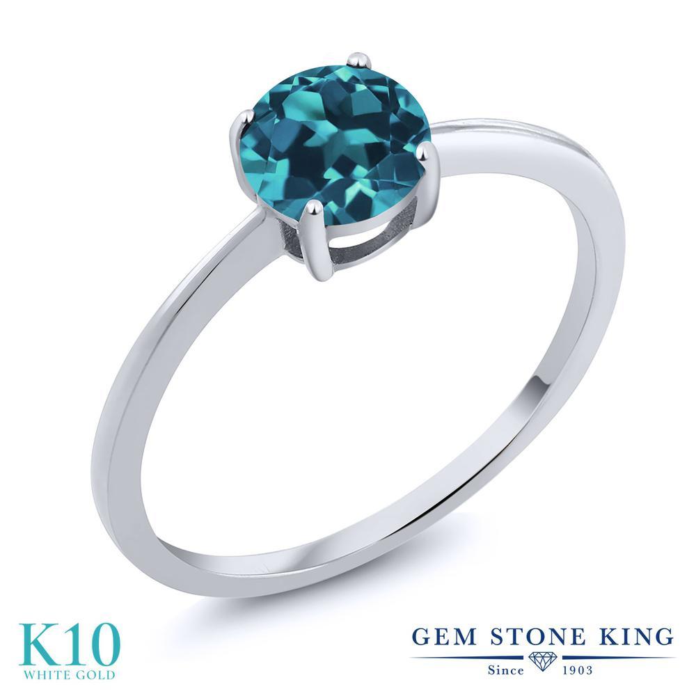 Gem Stone King 1.1カラット 天然 ロンドンブルートパーズ 10金 ホワイトゴールド(K10) 指輪 リング レディース 大粒 一粒 シンプル ソリティア 天然石 11月 誕生石 金属アレルギー対応 婚約指輪 エンゲージリング