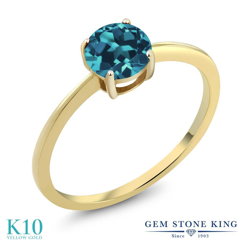 Gem Stone King 1.1カラット 天然 ロンドンブルートパーズ 10金 イエローゴールド(K10) 指輪 リング レディース 大粒 一粒 シンプル ソリティア 天然石 11月 誕生石 金属アレルギー対応 婚約指輪 エンゲージリング