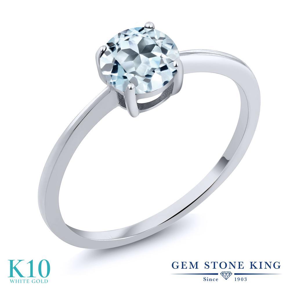 Gem Stone King 1カラット 天然 スカイブルートパーズ 10金 ホワイトゴールド(K10) 指輪 リング レディース 大粒 一粒 シンプル ソリティア 天然石 11月 誕生石 金属アレルギー対応 婚約指輪 エンゲージリング