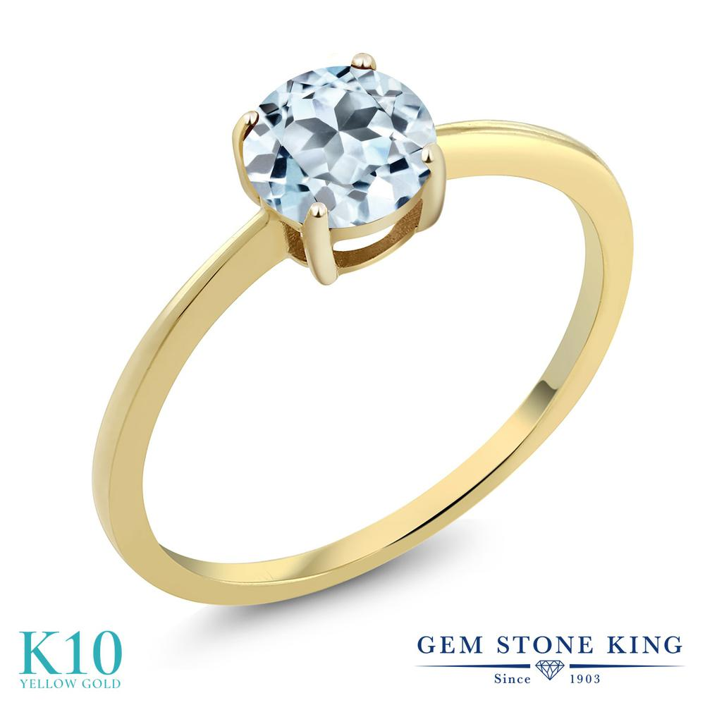 1カラット 天然 スカイブルートパーズ 指輪 レディース リング 10金 イエローゴールド K10 ブランド おしゃれ 一粒 水色 大粒 シンプル 細身 ソリティア 天然石 11月 誕生石 婚約指輪 エンゲージリング