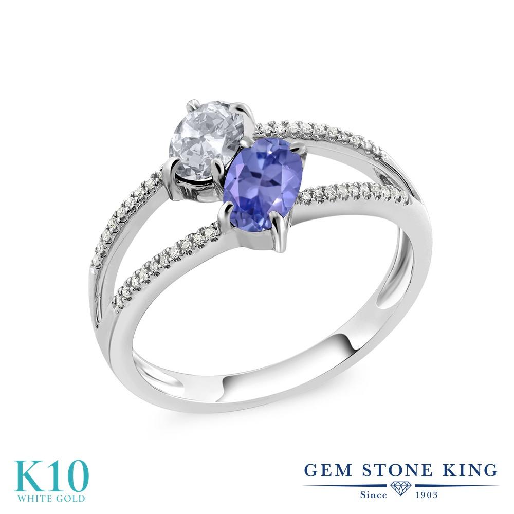 Gem Stone King 1.23カラット 天然 トパーズ (無色透明) 天然石 タンザナイト 天然 ダイヤモンド 10金 ホワイトゴールド(K10) 指輪 リング レディース 小粒 ダブルストーン 天然石 11月 誕生石 金属アレルギー対応 誕生日プレゼント