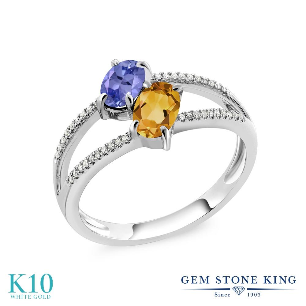 Gem Stone King 1.13カラット 天然石 タンザナイト 天然 シトリン 天然 ダイヤモンド 10金 ホワイトゴールド(K10) 指輪 リング レディース 小粒 ダブルストーン 天然石 12月 誕生石 金属アレルギー対応 誕生日プレゼント