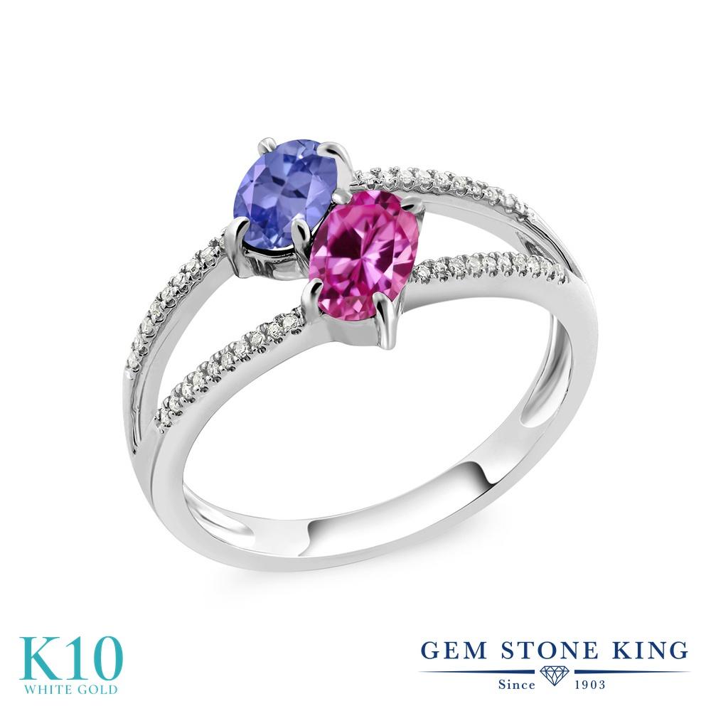 Gem Stone King 1.23カラット 天然石 タンザナイト 合成ピンクサファイア 天然 ダイヤモンド 10金 ホワイトゴールド(K10) 指輪 リング レディース 小粒 ダブルストーン 天然石 12月 誕生石 金属アレルギー対応 誕生日プレゼント